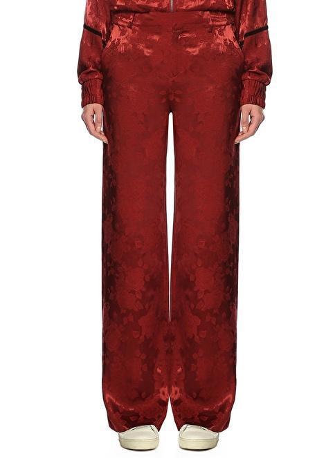 Gestuz Yüksek Bel Bol Paça Desenli Pantolon Bordo